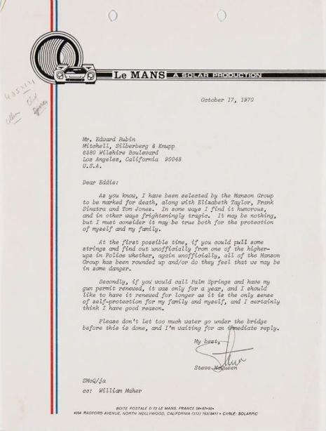 """A Letter from Steve McQueen: """"As you know, I have been selected by the Manson Group to be marked for death"""""""