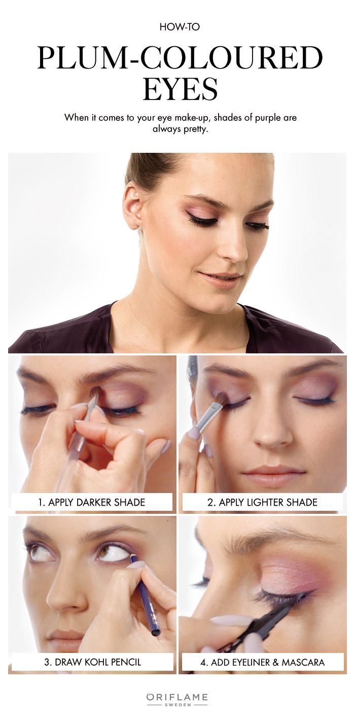 Update your look with plum-coloured eyes in bold grape and soft lilac.