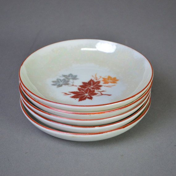 Five Seto Lustre Ware Maple Plates Set 2 by templeMARKET on Etsy