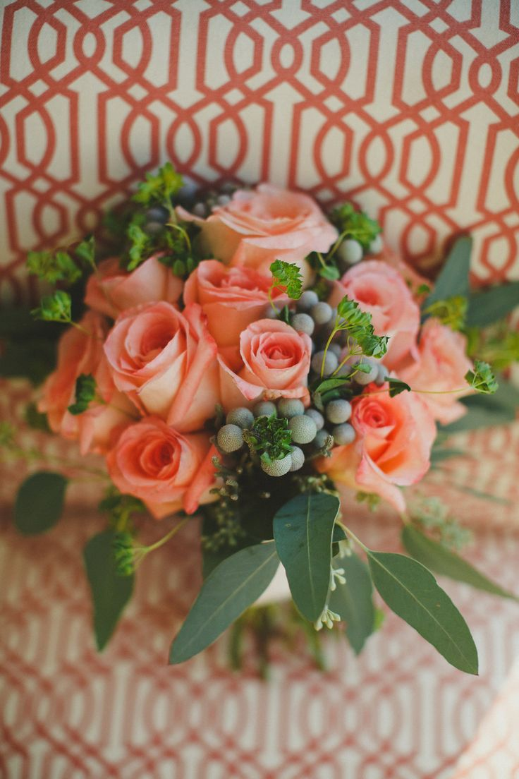 peach roses and seeded euk