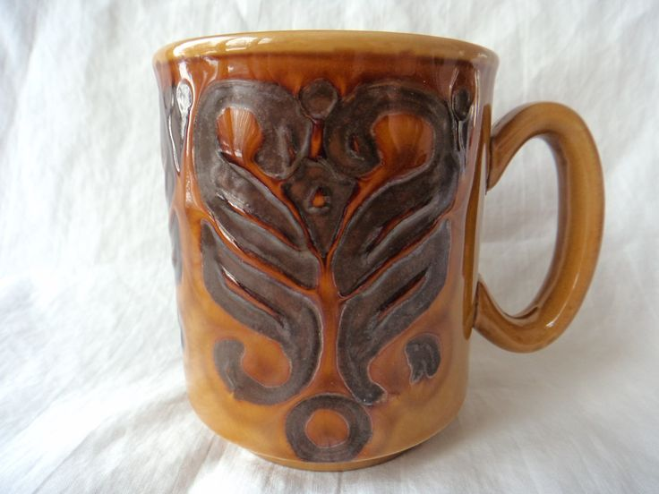 WP Mug Made in England Amber Glaze Swirl Pattern by GrandmothersTable on Etsy