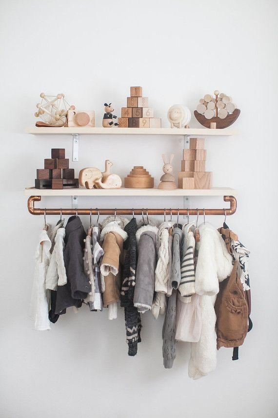 Stylish organization for a nursery or children's room.