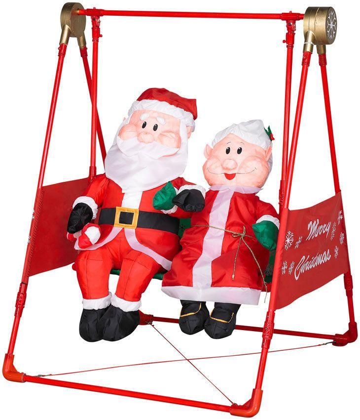 ANIMATED PORCH SWING W/SANTA U0026 MRS. CLAUS AIRBLOWN INFLATABLE CHRISTMAS YARD