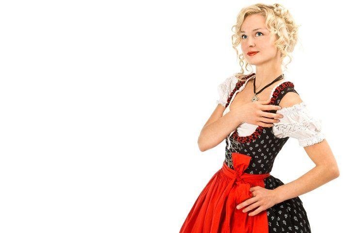 Download Young German Woman In Traditional Oktoberfest Dress Dirndl 843450 People Design Bundles In 2020 Dirndl German Women Holiday Women