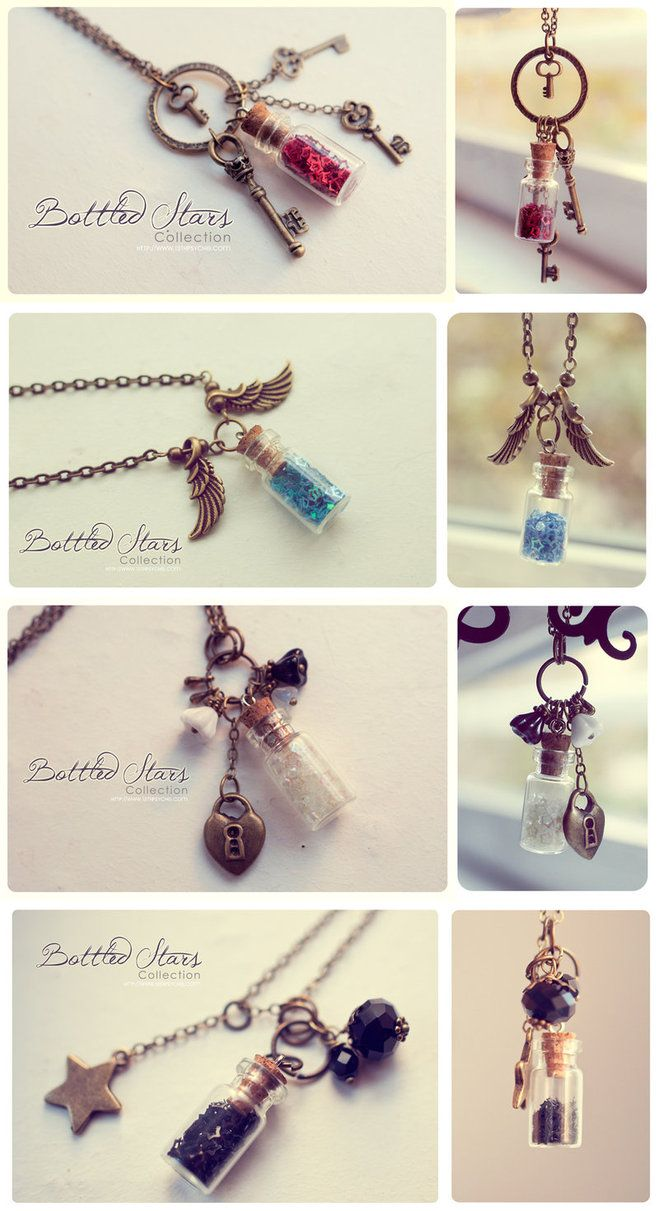 New handmade bottle necklaces at my etsy shop The first one glows in the dark! The other two are so cute and summery! 1º >Glowing stars Bottle Necklace, with glass frit and glitter stars. Glows ...