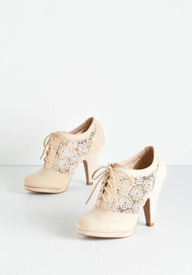 Numerous Occasions Heel in Cream - High, Faux Leather, Solid, Wedding, Party, Holiday Party, Menswear Inspired, Vintage Inspired, 20s, Good, Lace Up, Cream, Floral, Crochet, Cutout, Darling, Sheer, Lace, Variation, Special Occasion