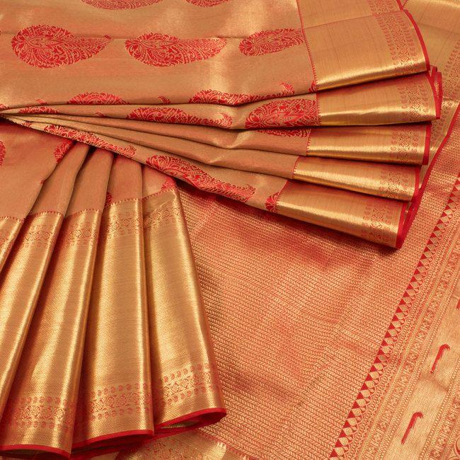 Red Handwoven Jacquard Kanjivaram Zari Silk Saree With Paisley Motifs 10010449 - AVISHYA.COM