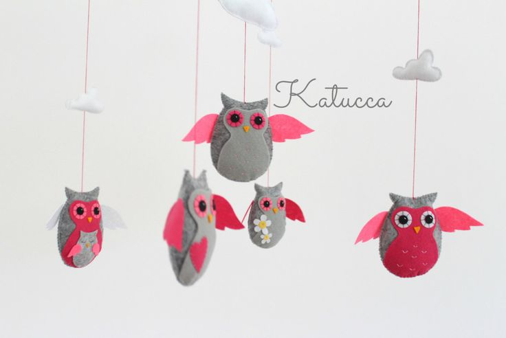READY TO SHIP- Baby Mobile - Pink Owl Mobile with Clouds - Baby Crib Mobile - Nursery Decor by Katucca on Etsy https://www.etsy.com/listing/201245853/ready-to-ship-baby-mobile-pink-owl