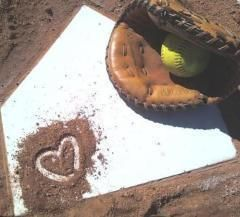 Softball, love this idea with Jadas mitt and the ball that says Rock on it