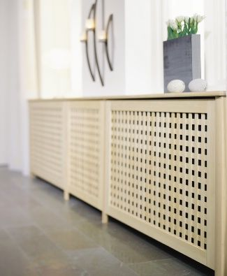Wooden radiator covers from Lundbergs (Sweden). Several options. www.lundbergs.com
