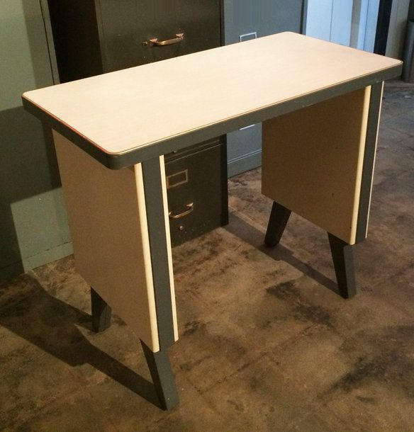 very cool vintage french industrial stainless steel desk with steel gallery and clean modernist lines