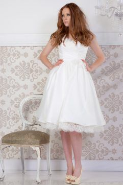 Audrey Lynn Vintage Bridal Charlotte Dress | V-neck tea length wedding dress with lace around neckline and gathered satin skirt with peek a boo lace trim