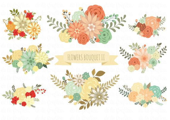 Flowers bouquet II clip art, clipart. Flowers clipart. 8 images 300 dpi. Eps, jpg, png files. Personal, small commercial Use