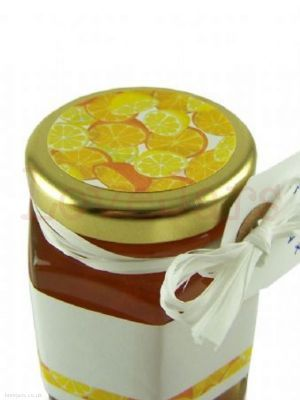 Jarcessories Oranges & Lemons Lid Topper, 40mm diameter, brings the look together beautifully. 24 labels per pack