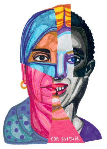 """""""Kom som du är"""" by Isabel Leal Bergstrand. Available at: http://www.arrivals.se/product/kom-som-du-är-återvinnsverige #art #affordable #affordableart #arrivals #collage #återvinnsverige #solidarity"""