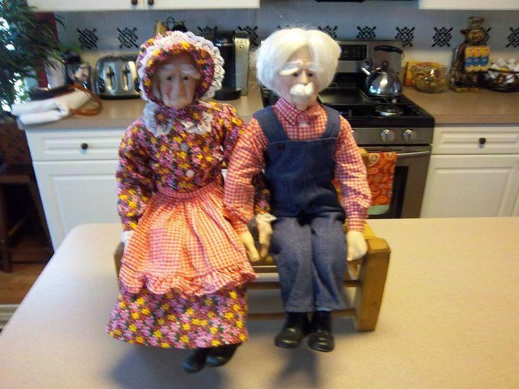 16 CERAMIC GRANDMA & GRANDPA DOLLS ELDERLY COUPLE WITH