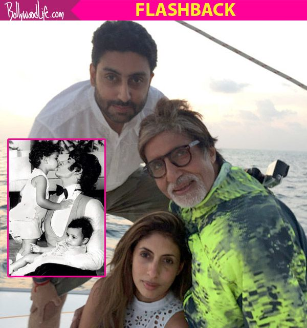 Amitabh Bachchan shares a childhood pic of Abhishek and Shweta, when they visited the sets of Amar Akbar Anthony #FansnStars