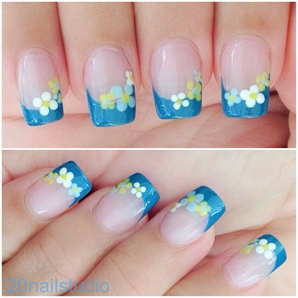 Nail Art Blue Floral: Best 25+ Blue French Manicure Ideas On Pinterest