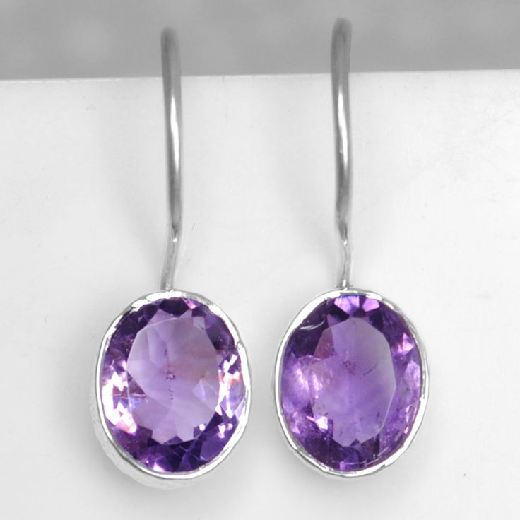 925 Sterling Silver Natural Amethyst Earrings Pair Oval Design Jewelry sve1015 $