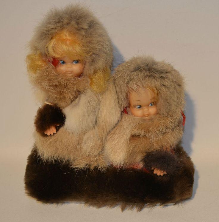 Vintage Inuit Eskimo Doll Blond Sister Real Fur Little Girls Handmade Art