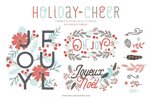 A joyful, #holiday set brilliant for holiday #cards! Delivered as a CS3 .eps Illustrator file. #vector