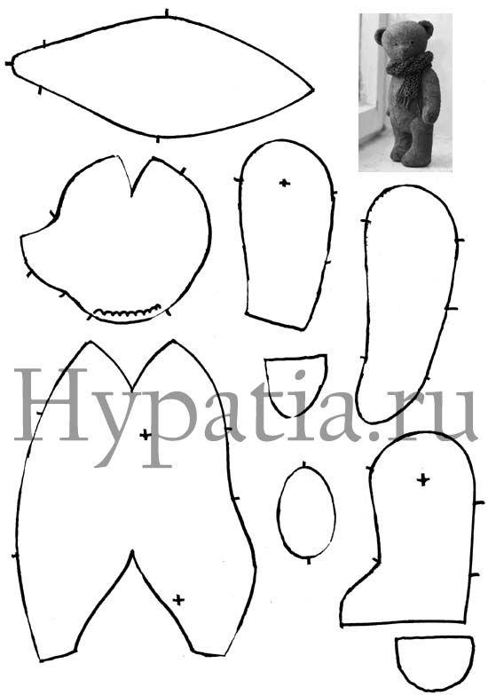 Teddy bear pattern/мишка тедди выкройка