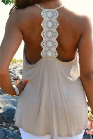 Chic Scoop Neck Lace Splicing Backless Loose Tank Top For Women Vests & Tank Tops | RoseGal.com Mobile