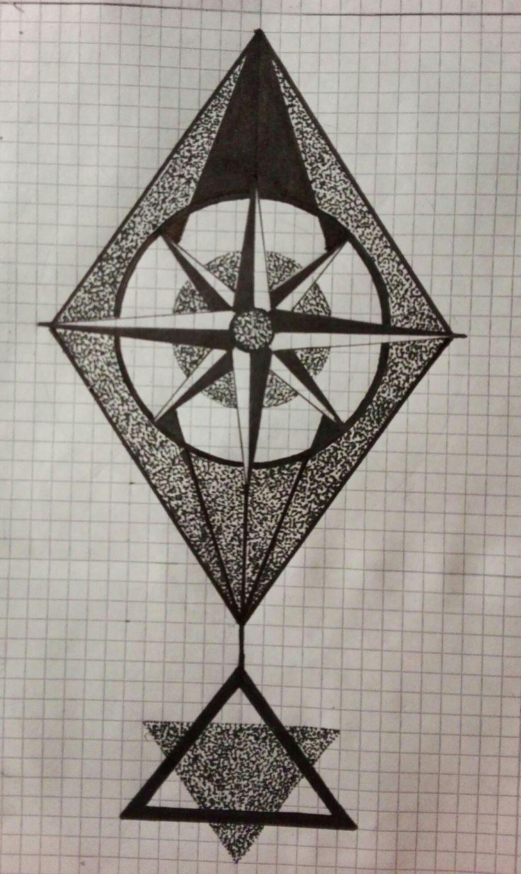Compass dotwork art tattoo