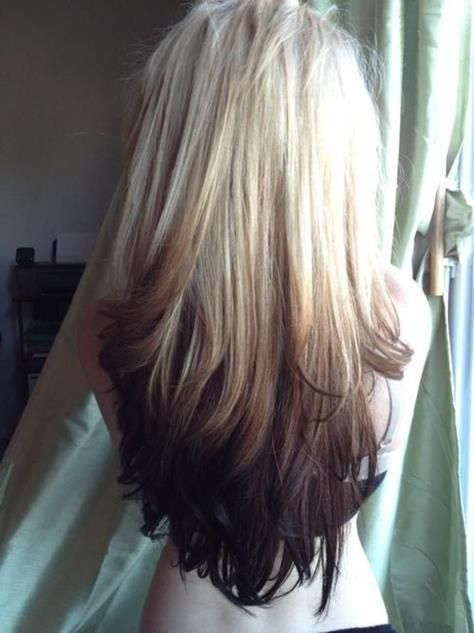 Blonde to dark brown ombre, long hair. Never seen this way before, gotta be a risktaker for this one!