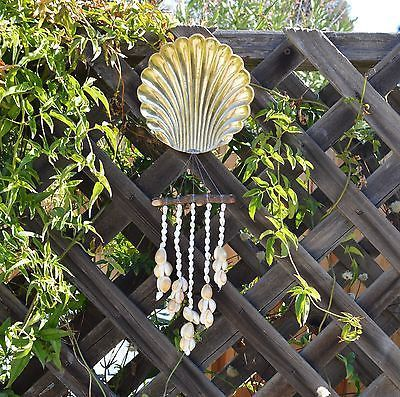 Handmade Beach Style Wind Chime Solid Brass Metal Shell with Wood & Seashells