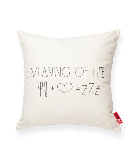 Meaning of Life Cream Throw Pillow