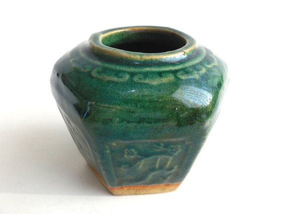 Ginger Jar Antique Green Glazed Ginger Jar by AllPicked on Etsy
