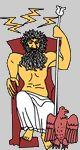 Bij les 6  Zeus (Jupiter), oppergod, god van donder en bliksem (klik op Zeus)