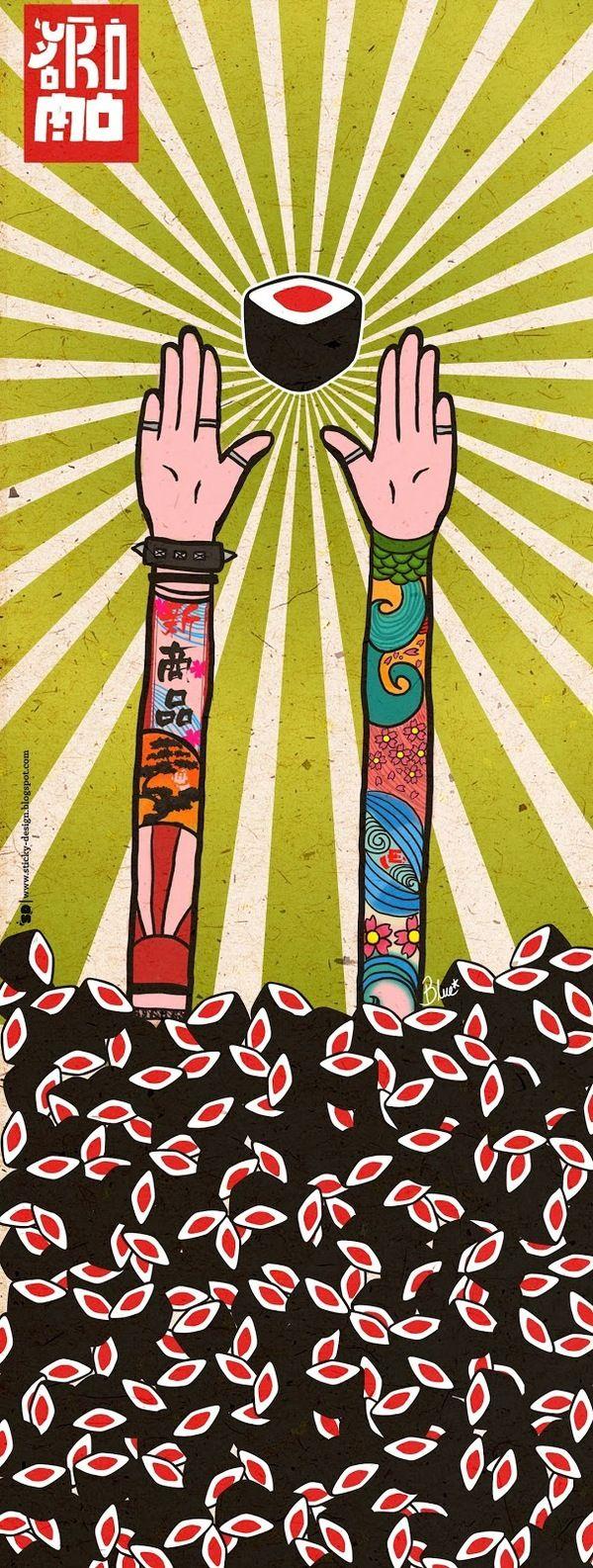 Illustration & Painting / Sticky Design: Illustration Yokomo Sushi doors.