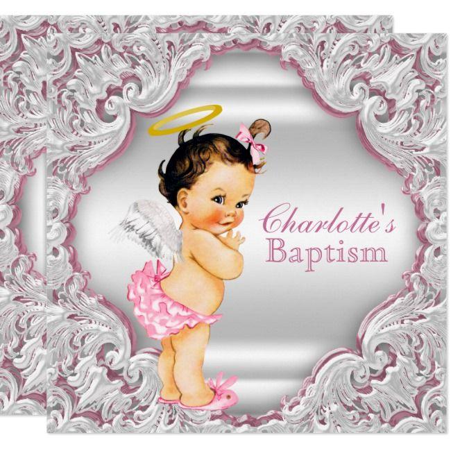 Girls Pink White Angel Girl Baby Baptism Invitation Zazzle