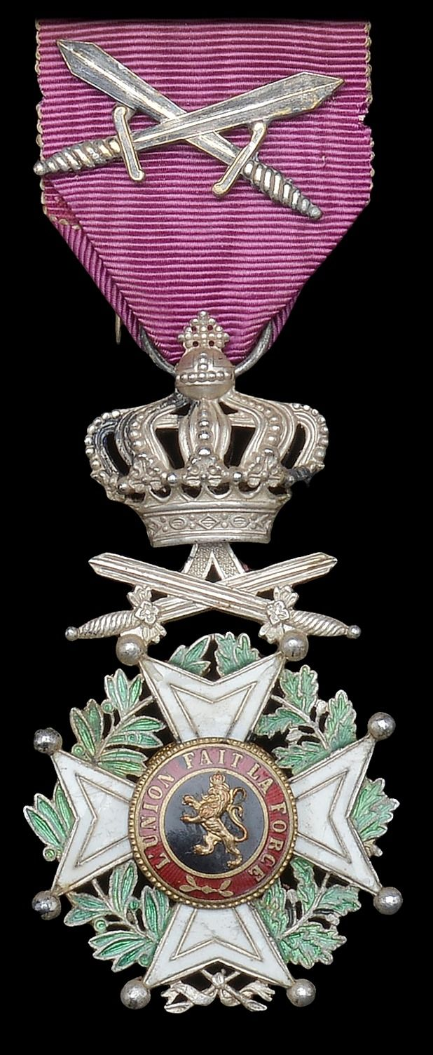 Belgium Order of Leopold (military), Knight's badge, unilingual, with crossed swords on ribbon.