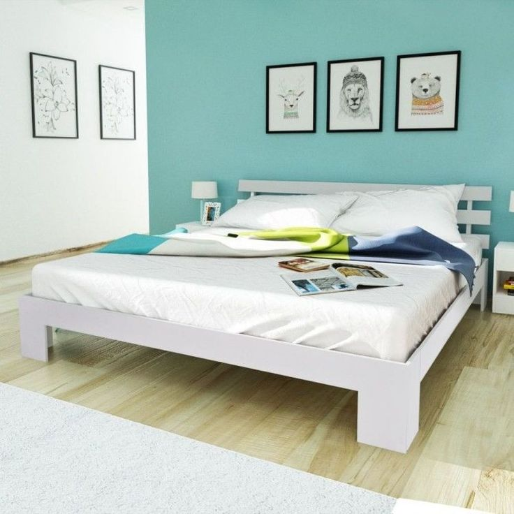 White King Size Bed Wooden Solid Pinewood Bed Frame Modern Bedroom Furniture New