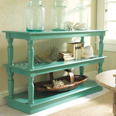 Just two tables . . . find 'em, paint 'em, stack 'em. Love this idea.