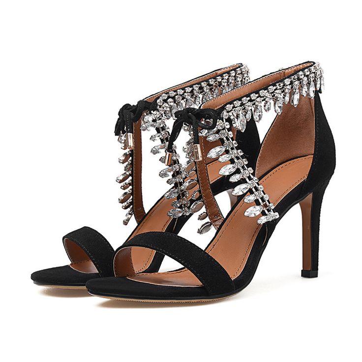 2016 мода сексуальные   конец алмазный кружева up дышащая овец замша тонкие каблуки женские сандалиикупить в магазине LWF fashion shoe storeнаAliExpress