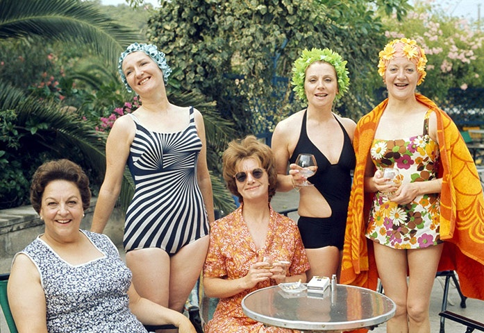 1974 - The cast of Coronation Street in Majorca. (Betty Turpin, Emily Bishop, Hilda Ogden, Rita Sullivan and Mavis Riley)