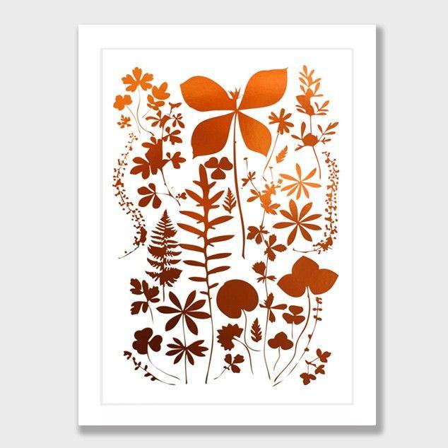 Wild Florals Copper Foil Art Print by Cloud 9 Creative