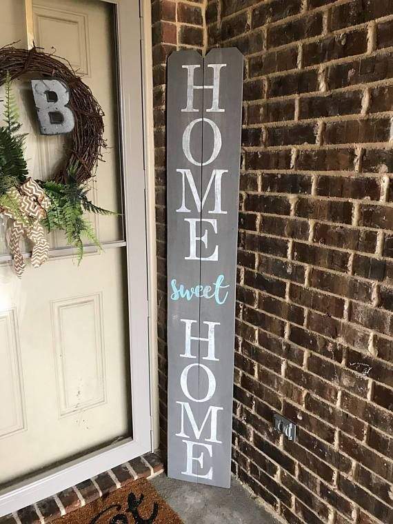 6ft Gray Home Sweet Home Porch Sign Welcome Signs Front Door Porch Signs Wooden Welcome Signs