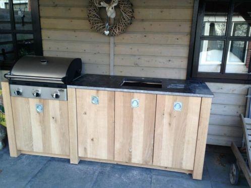 Eiken houten buitenkeuken buitenkeuken pinterest tuin and barbecue - Keuken back bar ...
