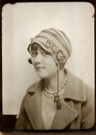 +~ Vintage Photo Booth Picture ~+  Young 1930's woman with a lovely hat.: