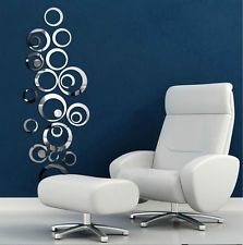 Fashion DIY Ring Circles Mirror Style Removable Decal 3D Wall Sticker Home Decor