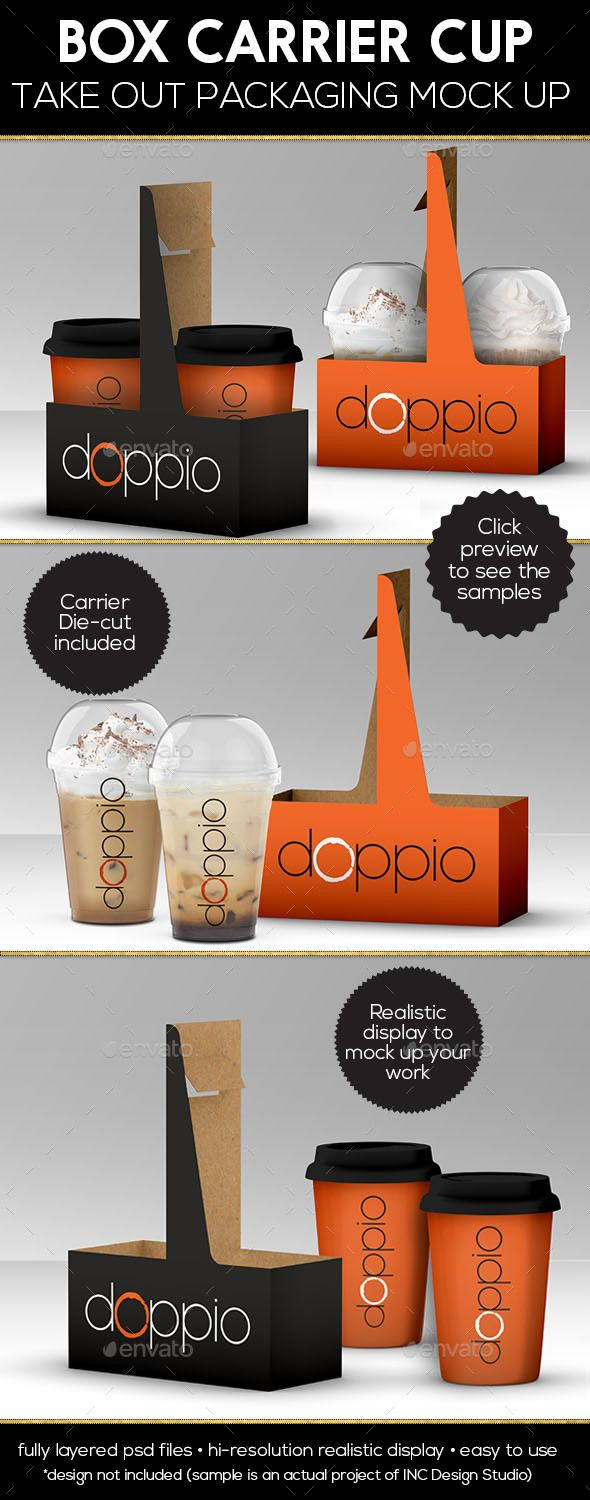 Coffee Cup Take out Box Carrier Packaging Mock Up - Food and Drink Packaging