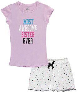 "Love 2 Sleep Big Girls' ""Most Awesome Sister Ever"" 2-Piece Pajamas (Sizes 7 – 16) - CookiesKids.com"