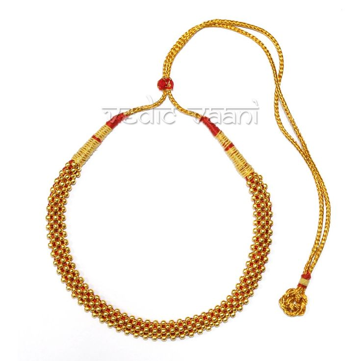 Purchase traditional thushi for goddess online from vedicvaani.com to across the worldwide for navratri and religious ceremonies. These Beautiful Traditional Thushi Necklace designed in golden pear along with red silk thread. These adjustable thushi are Ideal to Offer Goddess.