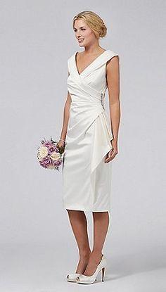 Simple Informal Sheath V-neck Satin Wedding Dress for Older Brides Over 40, 50, 60, 70. Elegant Second Wedding Dress Ideas.