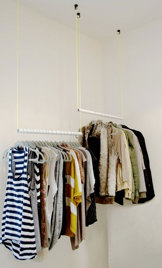 This idea's a little high-concept, but can help fill any closet efficiently. The differing heights separate clothes by type, and ensure longer items won't drag on the floor. Get the tutorial at The Design Confidential »   - HouseBeautiful.com